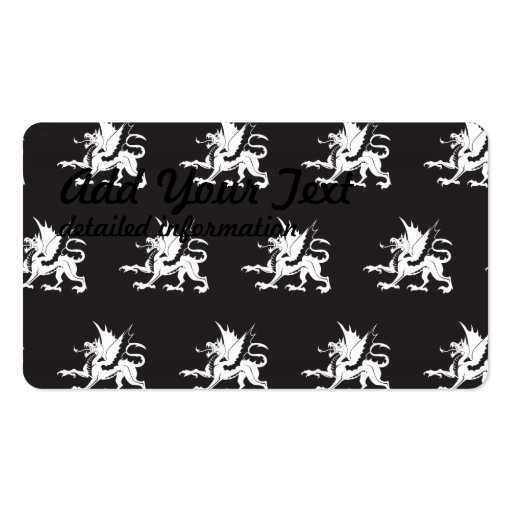 Dragons Black white Business Card Templates