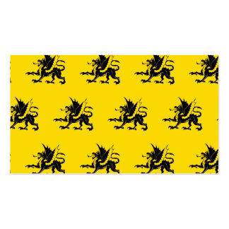 Dragons Black Yellow Business Card Template
