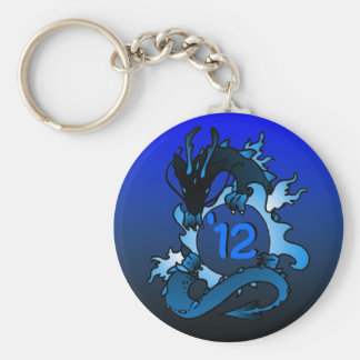 "Dragons ""Class Of"" Black and Blue Basic Round Button Key Ring"