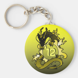 "Dragons ""Class Of"" Black and Gold Basic Round Button Key Ring"