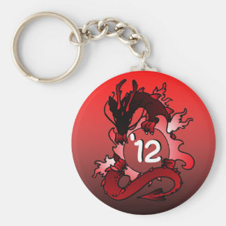 """Dragons """"Class Of"""" Black and Red Basic Round Button Key Ring"""