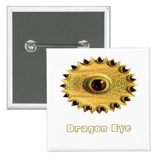 DRAGON's Eye - Golden Chinese Art 15 Cm Square Badge