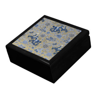 Dragons, Flowers, Butterflies - Blue on Dull Gold Large Square Gift Box