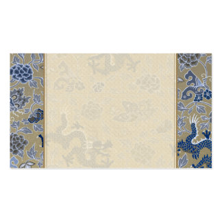Dragons, Flowers, Butterflies - Blue on Dull Gold Pack Of Standard Business Cards