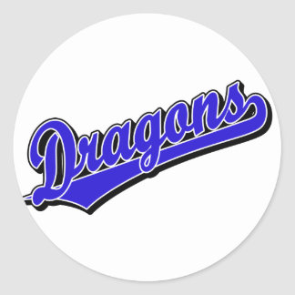 Dragons in Blue Round Stickers