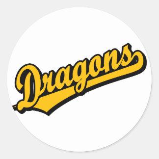 Dragons in Orange Classic Round Sticker