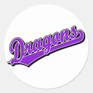 Dragons in Purple Classic Round Sticker
