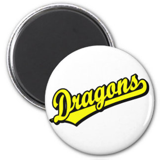 Dragons in Yellow Refrigerator Magnets