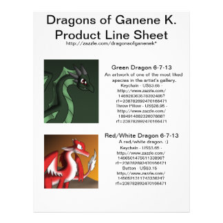 Dragons of Ganene K. Product Line Sheet Flyers