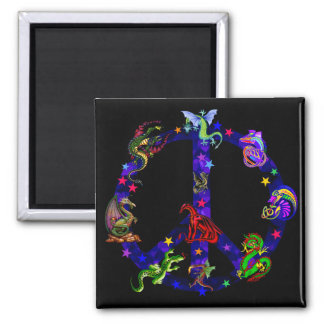 Dragons Of Peace Square Magnet