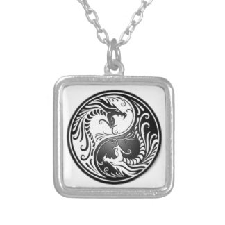 dragons of yin yang silver plated necklace