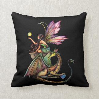 Dragon's Orbs Faerie Fairy and Dragon Throw Pillow