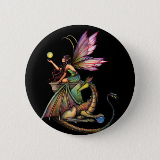 Dragon's Orbs Fairy and Dragon by Molly Harrison 6 Cm Round Badge