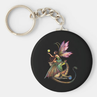 Dragon's Orbs Fairy and Dragon by Molly Harrison Key Ring