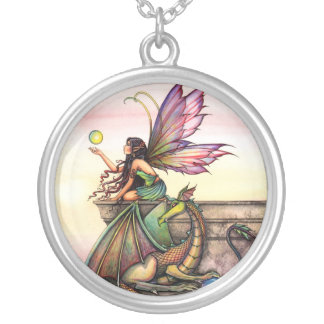 Dragon's Orbs Fairy Dragon Fantasy Art Necklace