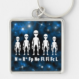 Drake Equation Alien Civilizations Formula Silver-Colored Square Key Ring