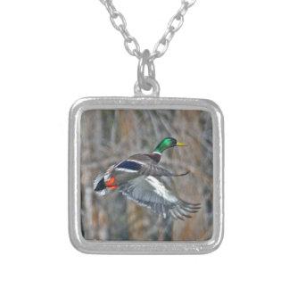 Drake mallard in flight square pendant necklace