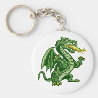 Draken Green Basic Round Button Key Ring