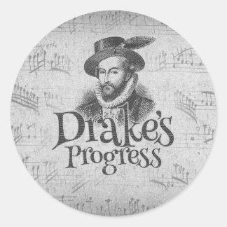 Drake's Progress guitar case sticker. Round Sticker