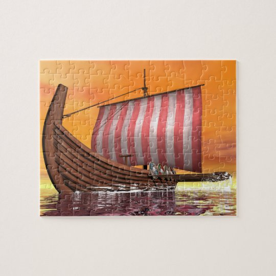 Drakkar or viking ship - 3D render Jigsaw