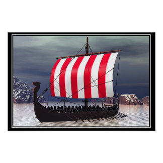 Drakkar Viking Sailing Ship Posters