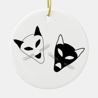 Drama Cat Masks Round Ceramic Decoration