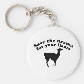 Drama Llama Basic Round Button Key Ring