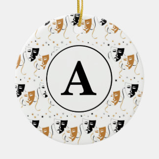 Drama Mask Theatre Themed Monogram Christmas Ornament