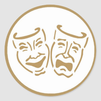 Drama Masks Classic Round Sticker
