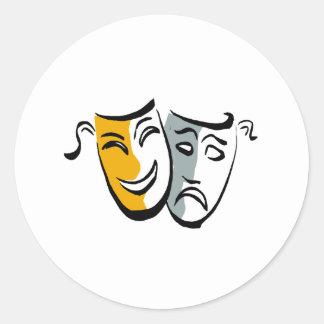 Drama masks merchandise classic round sticker