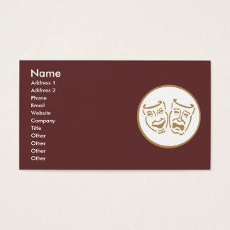 Drama Masks (White & Gold) Business Card