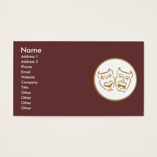 Drama Masks (White & Gold) Business Card
