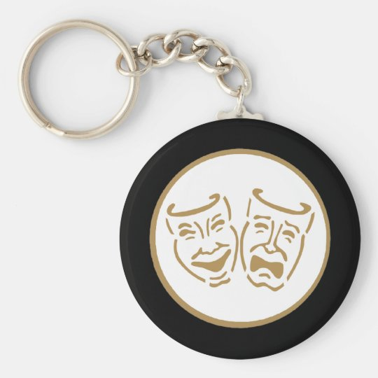 Drama Masks (White & Gold) Key Ring