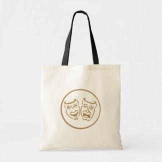 Drama Masks (White & Gold) Tote Bag