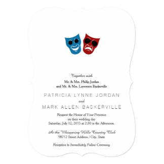 Drama Masks with Sunglasses 5x7 Paper Invitation Card