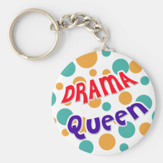 Drama Queen Basic Round Button Key Ring