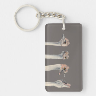 """Drama Queen"" Funny Ostriches Painting Key Ring"