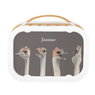 """""""Drama Queen"""" Funny Ostriches Painting Lunch Box"""