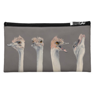 """Drama Queen"" Funny Ostriches Painting Makeup Bag"