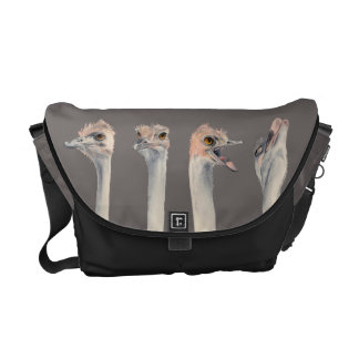 """""""Drama Queen"""" Funny Ostriches Painting Messenger Bags"""