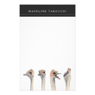 """""""Drama Queen"""" Funny Ostriches Painting Stationery"""