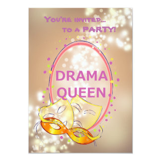Drama Queen Lights Theater Masks Invitations