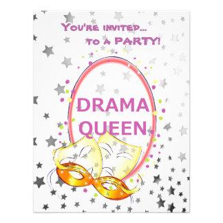 Drama Queen Masquerade Shiny Stars Theater Masks Personalized Invitation
