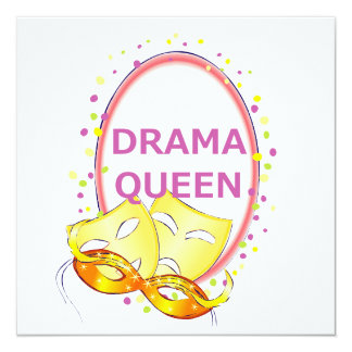 Drama Queen Theater Masks 13 Cm X 13 Cm Square Invitation Card