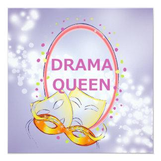 """Drama Queen Theater Masks 5.25"""" Square Invitation Card"""