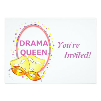 "Drama Queen Theater Masks 5"" X 7"" Invitation Card"