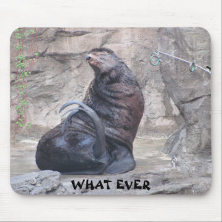 "Drama Seal says ""what ever"" Mouse Pad"