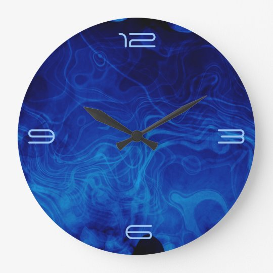 Dramatic Abstract Pattern Electric Blue Large Clock