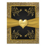 Dramatic Black and Gold Heart RSVP Card Personalised Invitations
