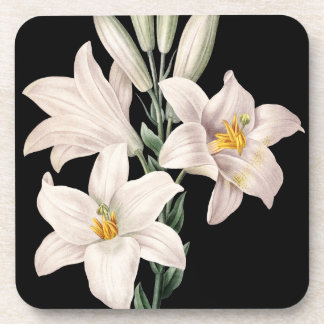 Dramatic Black and White Lilies Beverage Coaster